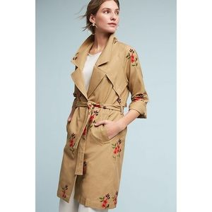 Anthropologie Cartonnier Embroidered Floral Trench